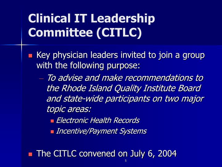 Clinical IT Leadership Committee (CITLC)