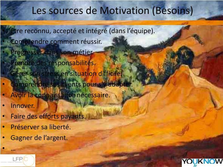 Les sources de Motivation (Besoins)