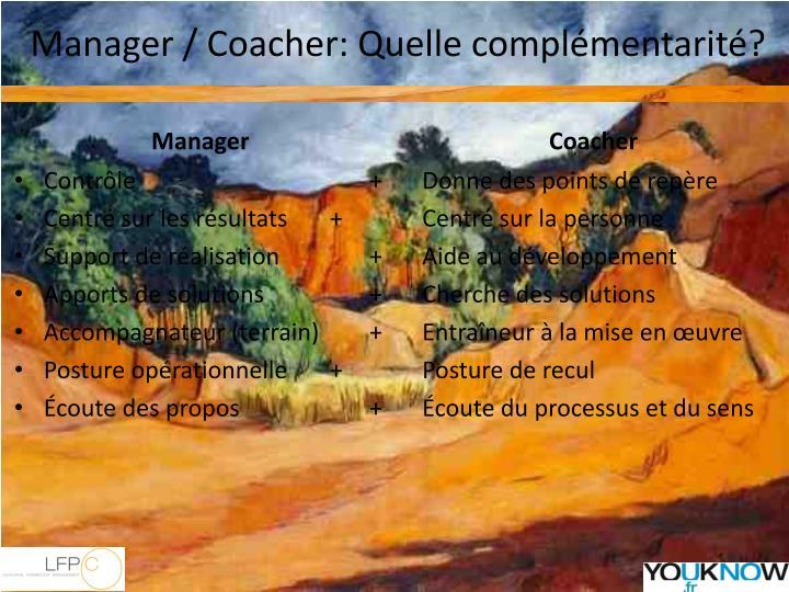Manager / Coacher: Quelle complémentarité?