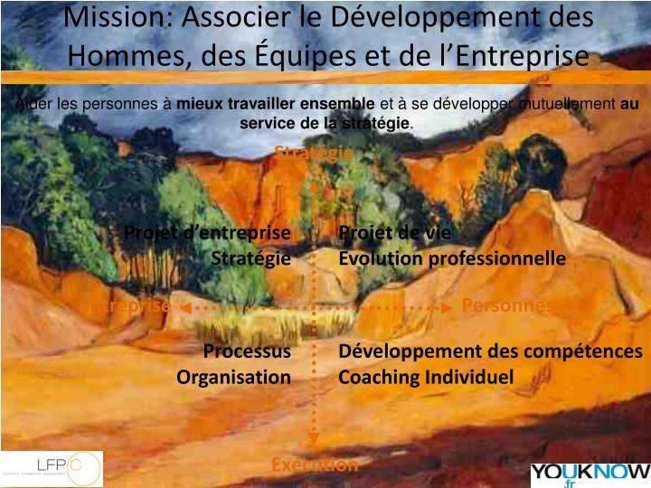 Mission: Associer le Développement des Hommes, des Équipes et de l'Entreprise