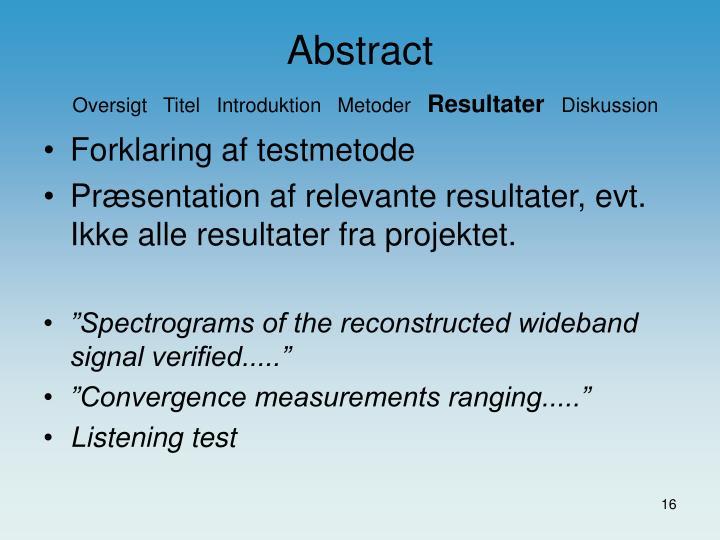 Forklaring af testmetode