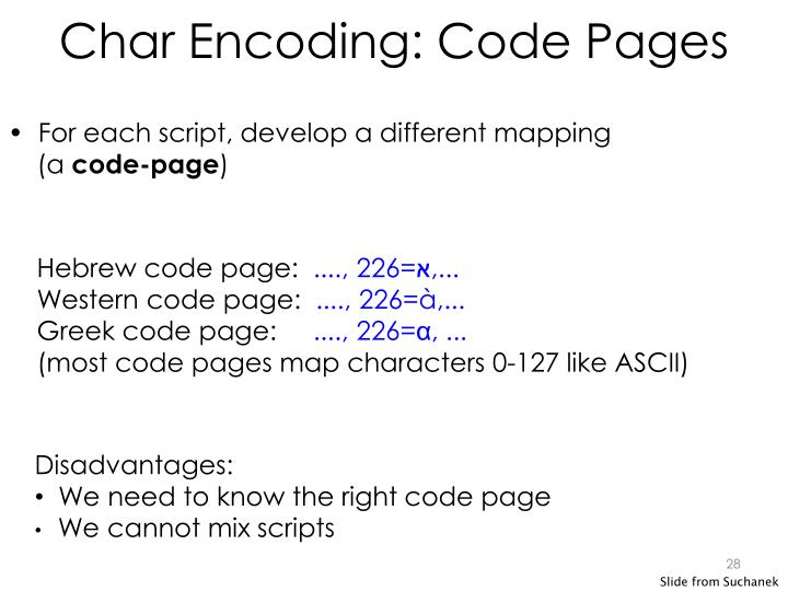 Char Encoding: Code Pages