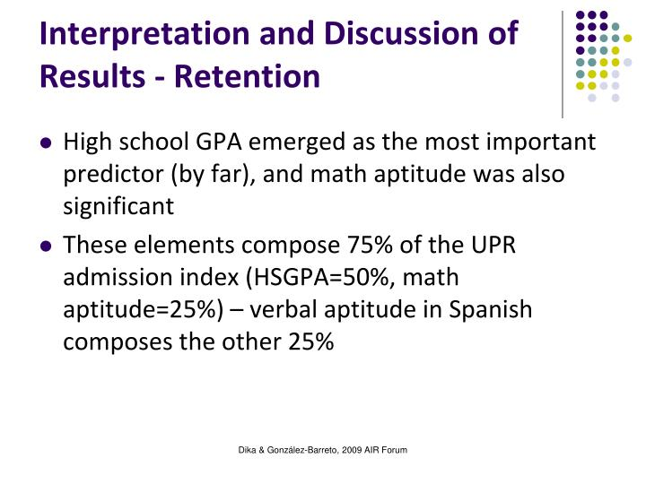 Interpretation and Discussion of Results - Retention
