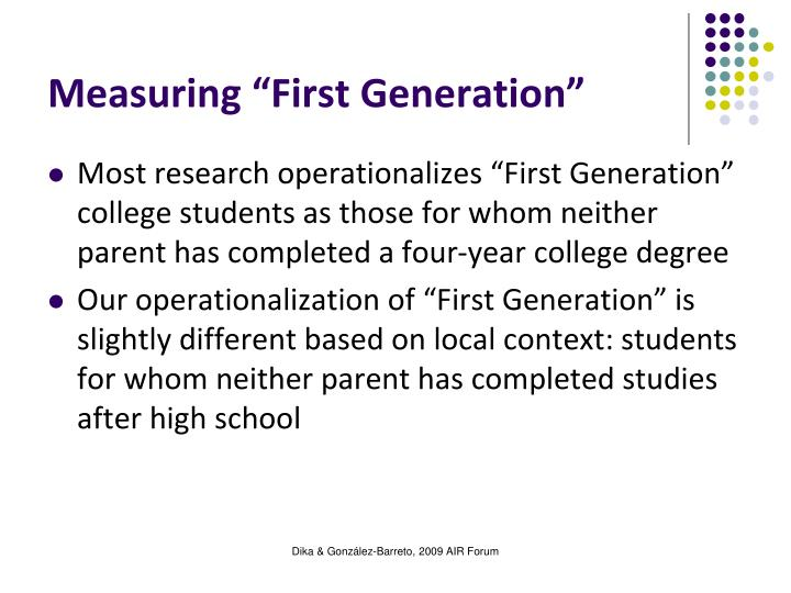 "Measuring ""First Generation"""