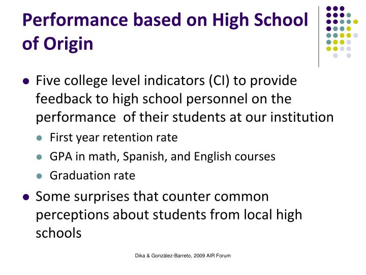 Performance based on High School of Origin