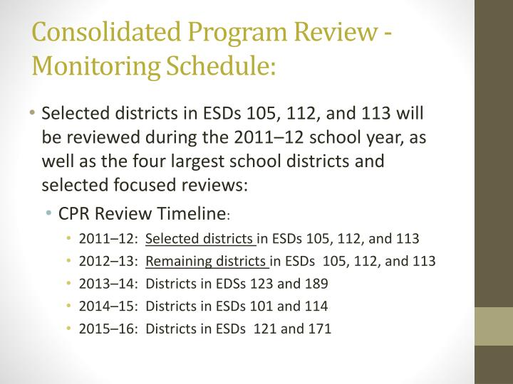 Consolidated Program Review -    Monitoring Schedule: