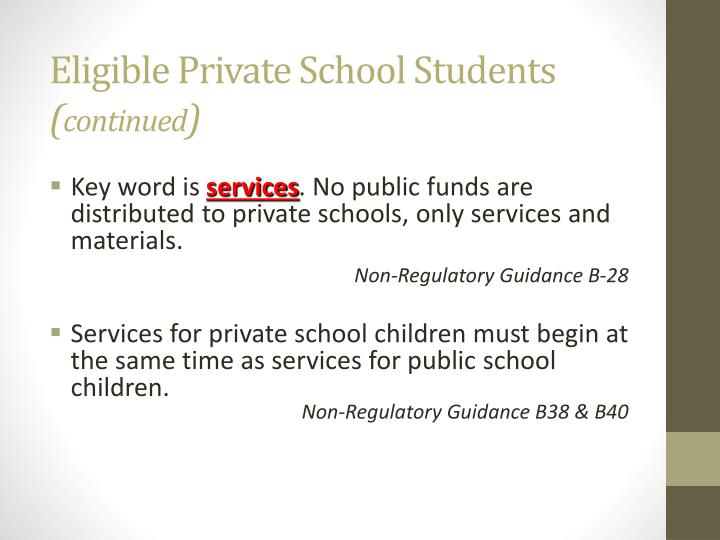 Eligible Private School Students