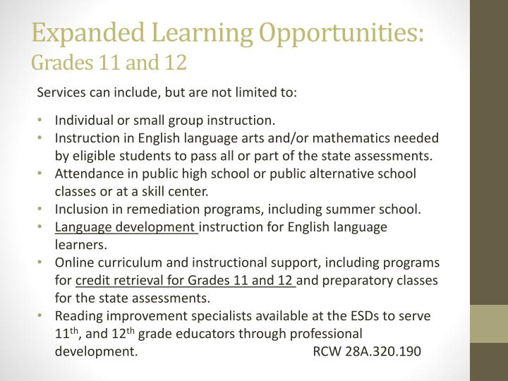 Expanded Learning Opportunities: