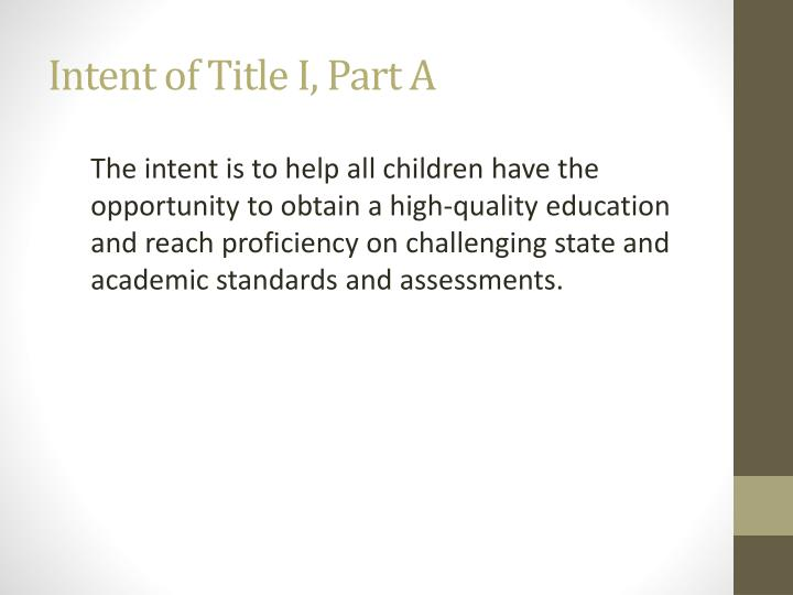Intent of Title I, Part A