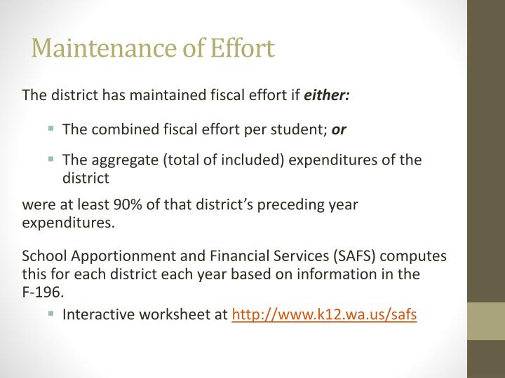 Maintenance of Effort