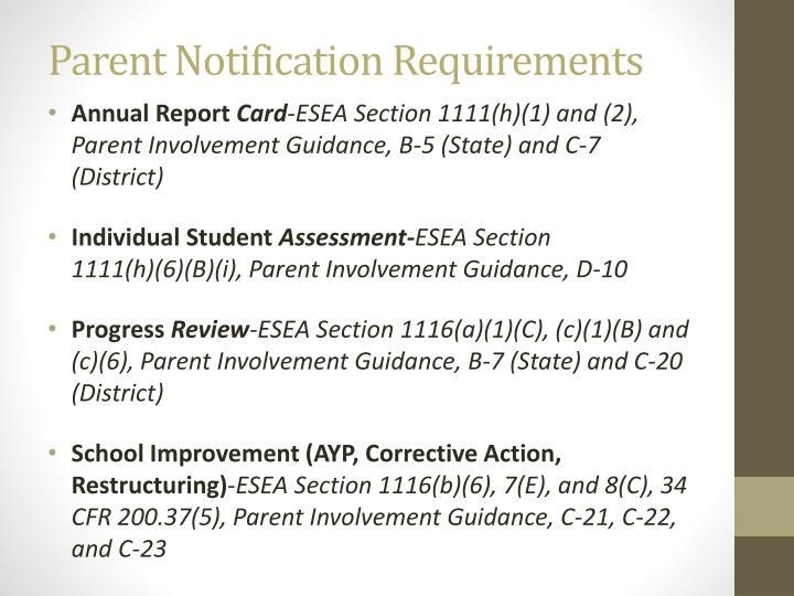 Parent Notification Requirements