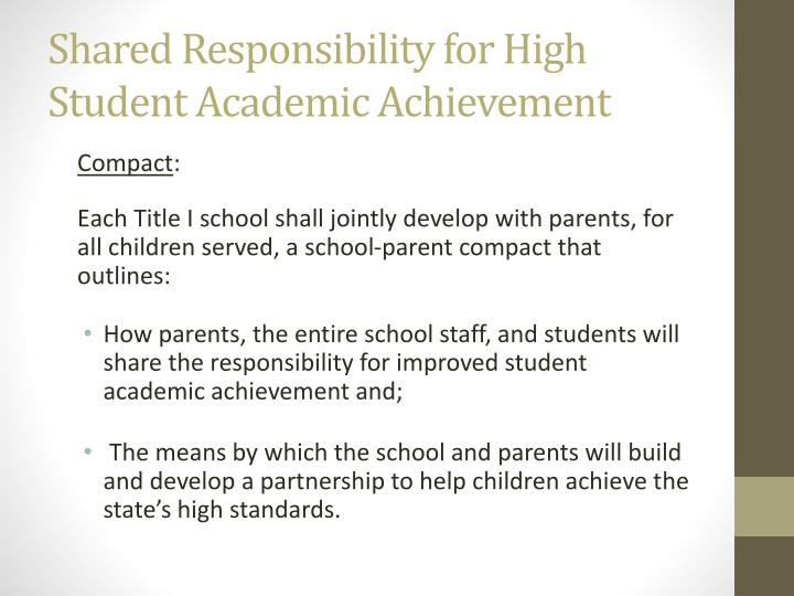 Shared Responsibility for High Student Academic Achievement