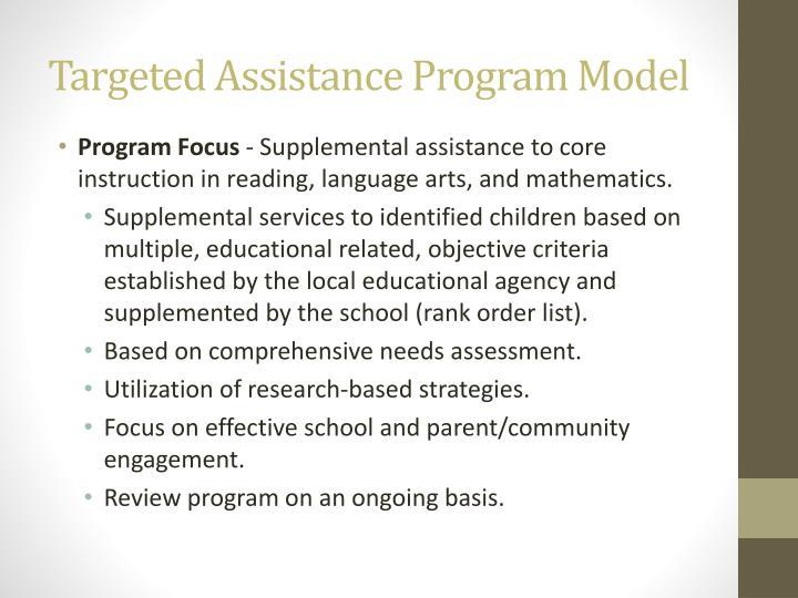 Targeted Assistance Program Model