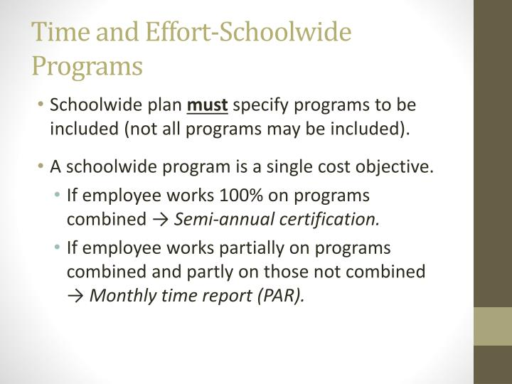 Time and Effort-Schoolwide Programs