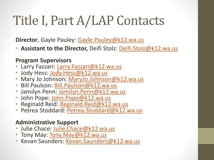 Title I, Part A/LAP Contacts