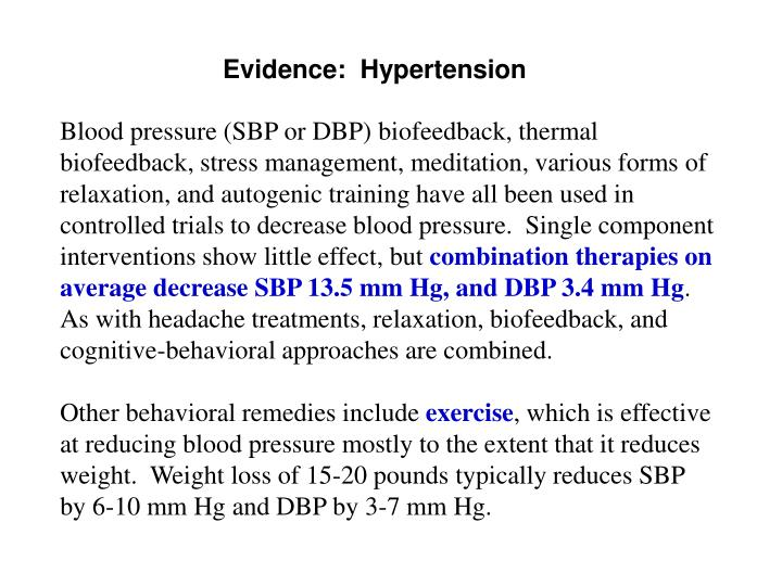 Evidence:  Hypertension