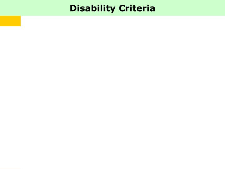 Disability Criteria