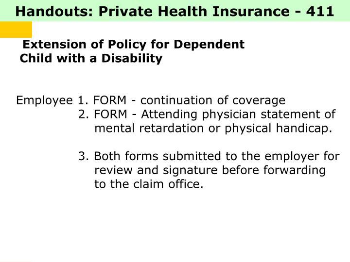 Handouts: Private Health Insurance - 411
