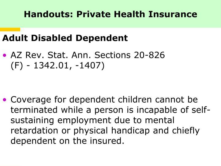 Handouts: Private Health Insurance
