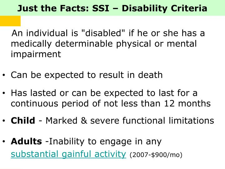 Just the Facts: SSI – Disability Criteria