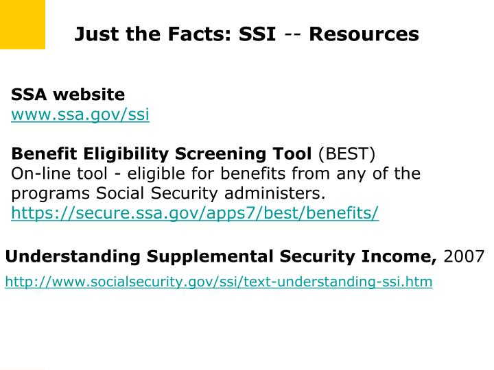 Just the Facts: SSI