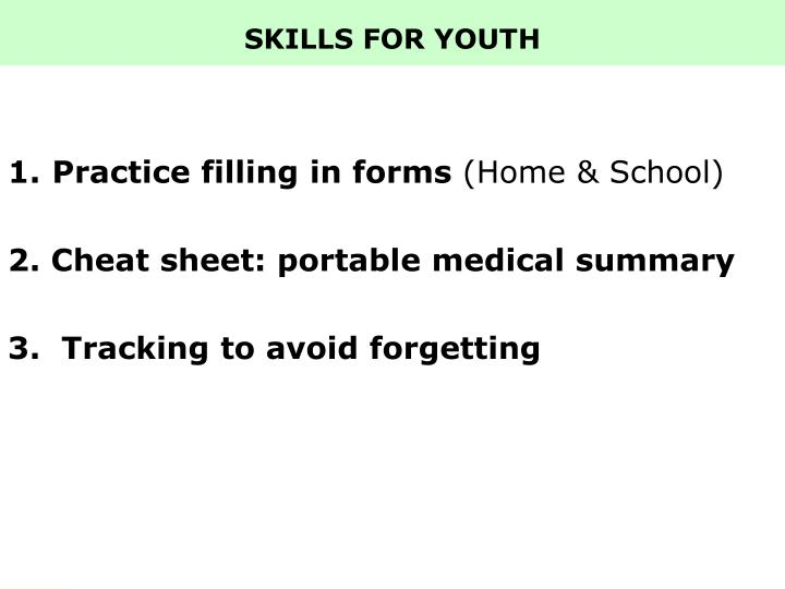SKILLS FOR YOUTH