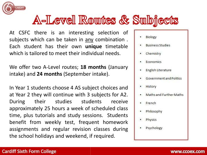 A-Level Routes & Subjects