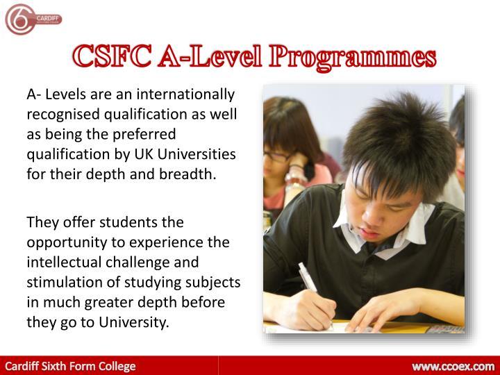 CSFC A-Level Programmes