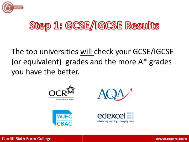 Step 1: GCSE/IGCSE Results
