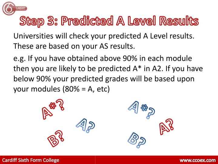 Step 3: Predicted A Level Results