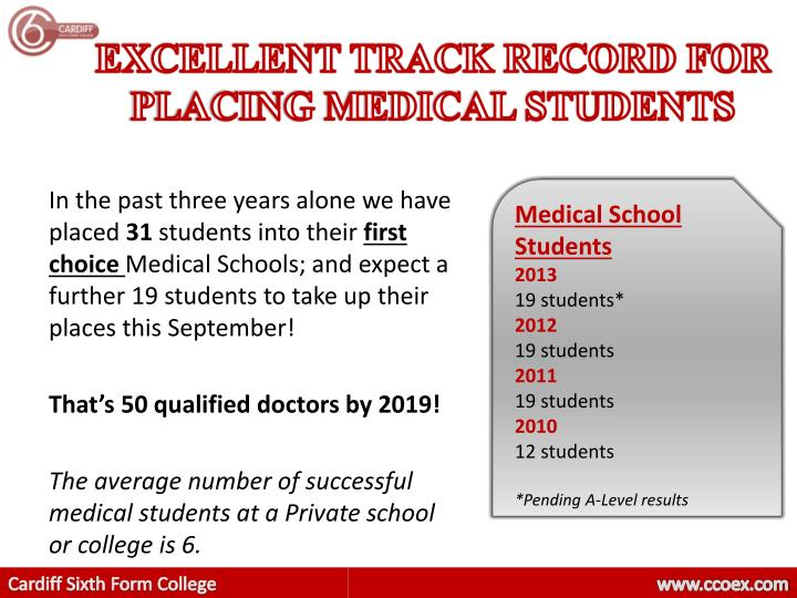 EXCELLENT TRACK RECORD FOR PLACING MEDICAL STUDENTS