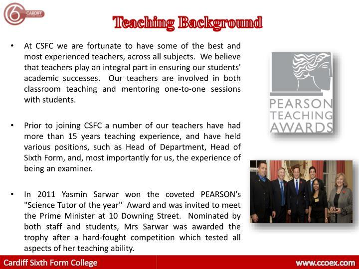 Teaching Background