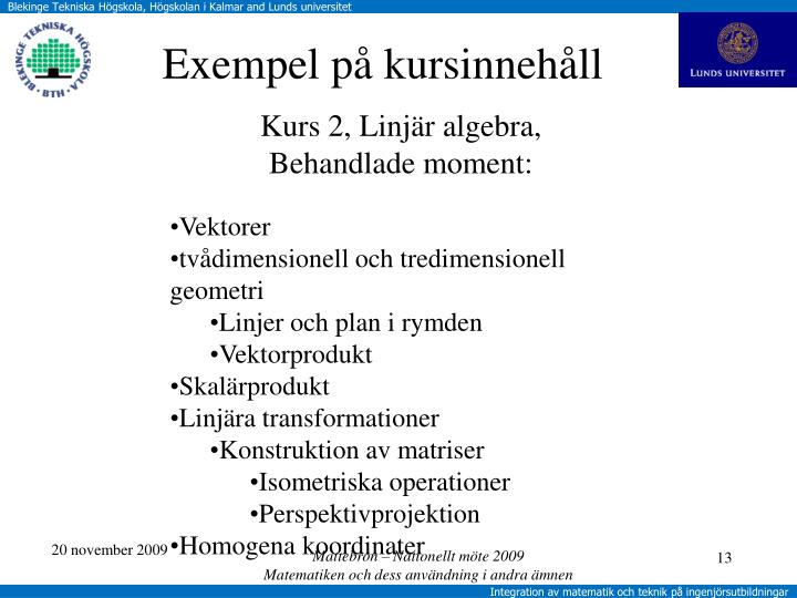 Kurs 2, Linjär algebra,