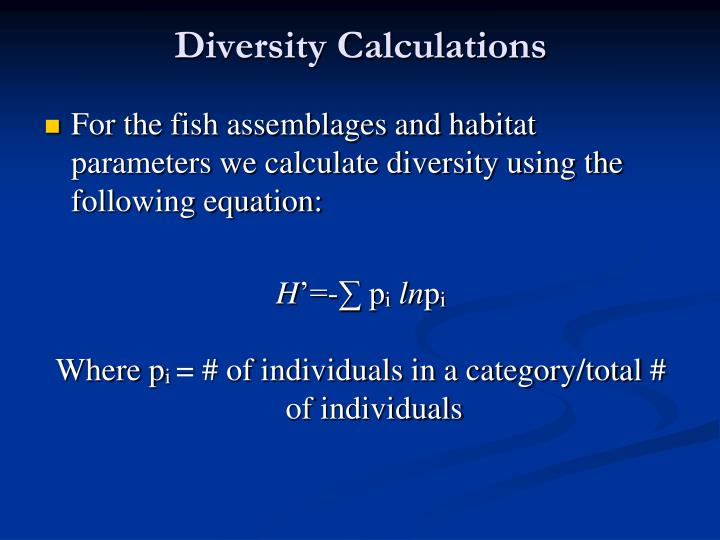 Diversity Calculations