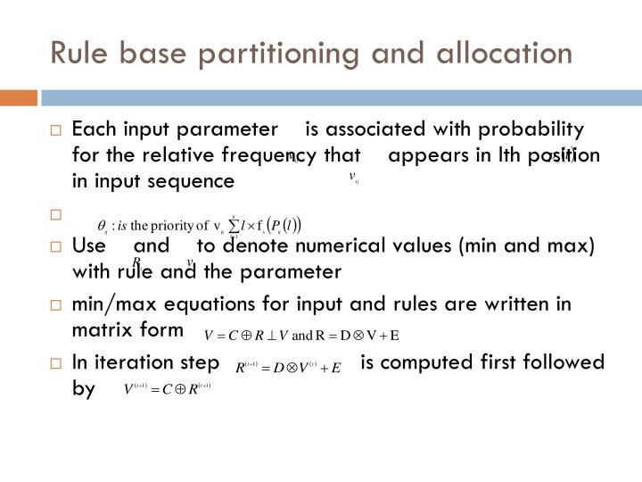 Rule base partitioning and allocation