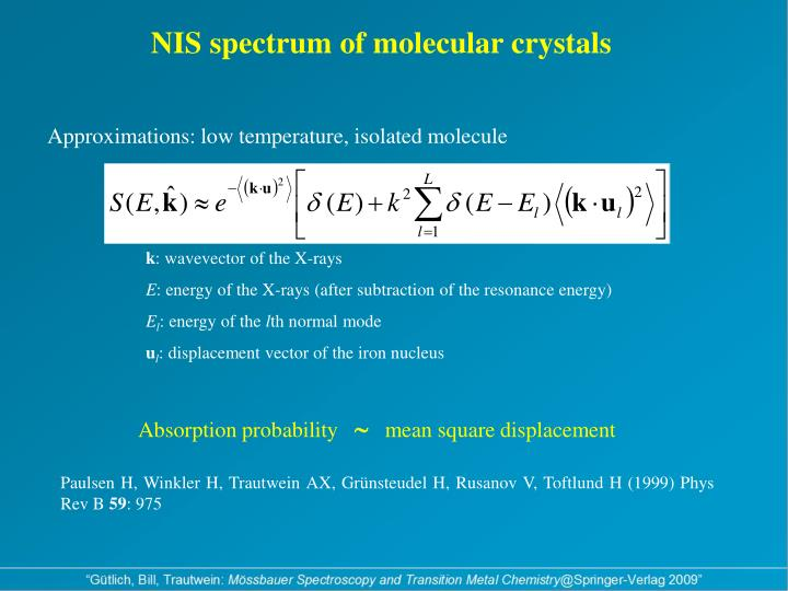 NIS spectrum of molecular crystals