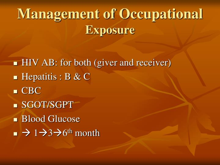 Management of Occupational