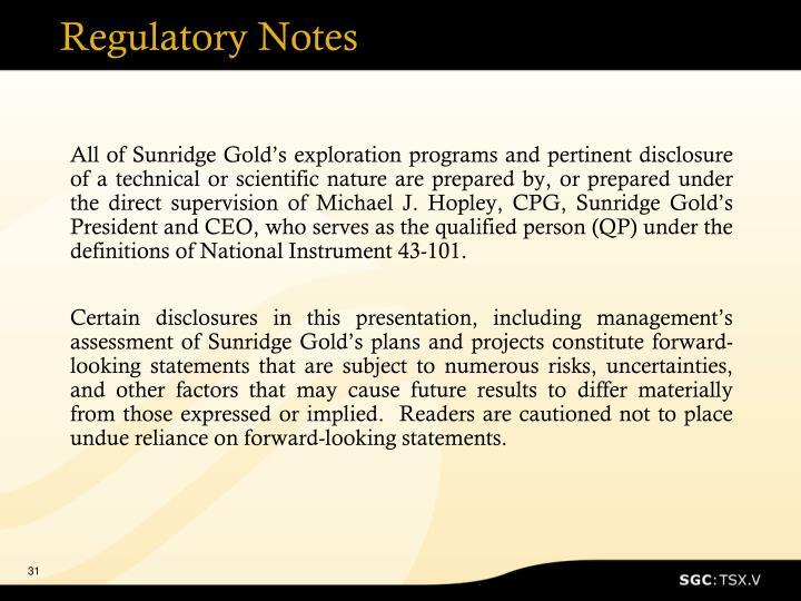 Regulatory Notes