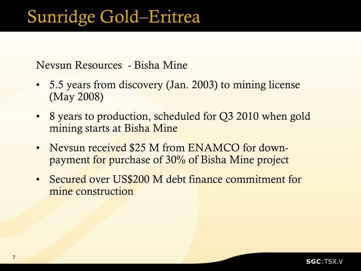 Sunridge Gold–Eritrea
