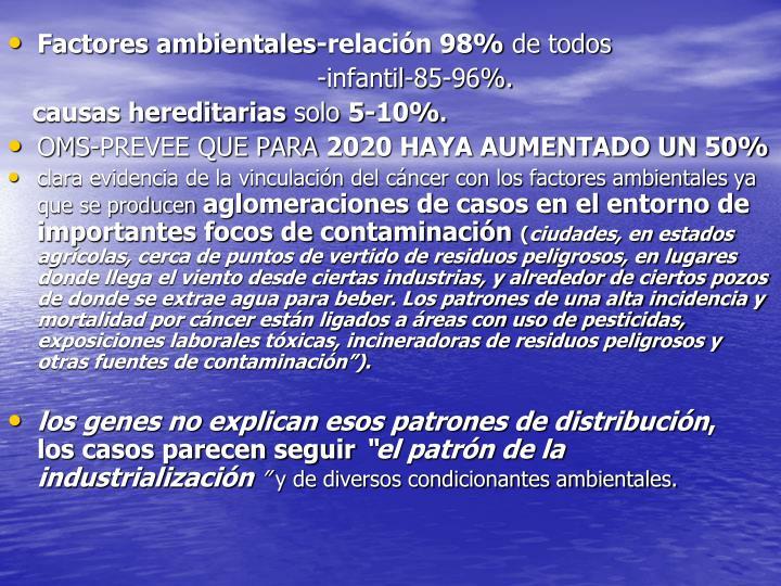 Factores ambientales-relación 98%