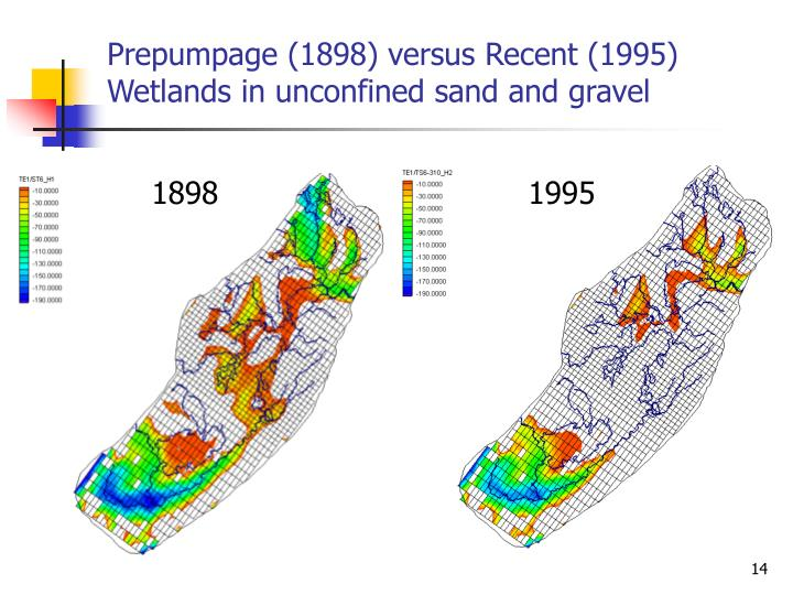 Prepumpage (1898) versus Recent (1995) Wetlands in unconfined sand and gravel