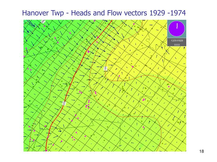Hanover Twp - Heads and Flow vectors 1929 -1974