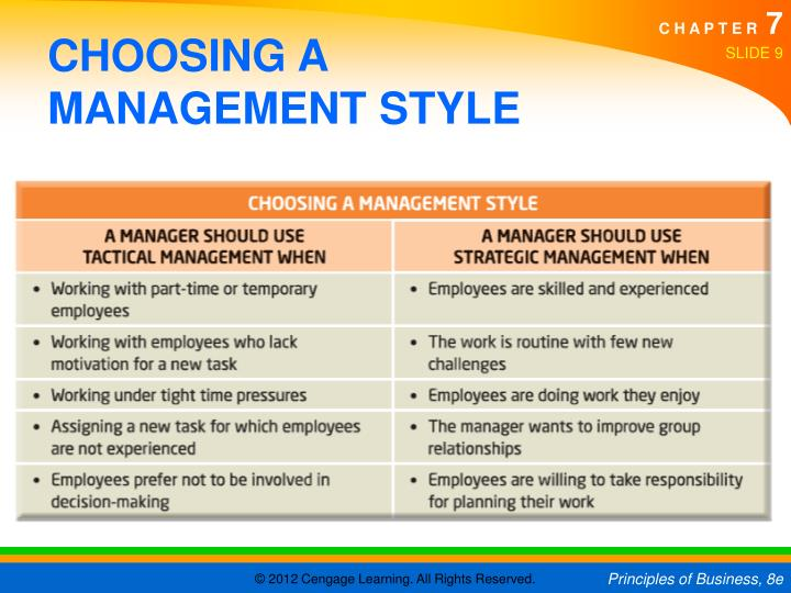 CHOOSING A MANAGEMENT STYLE
