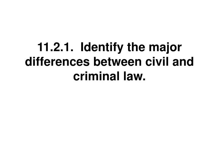 11.2.1.  Identify the major differences between civil and criminal law.