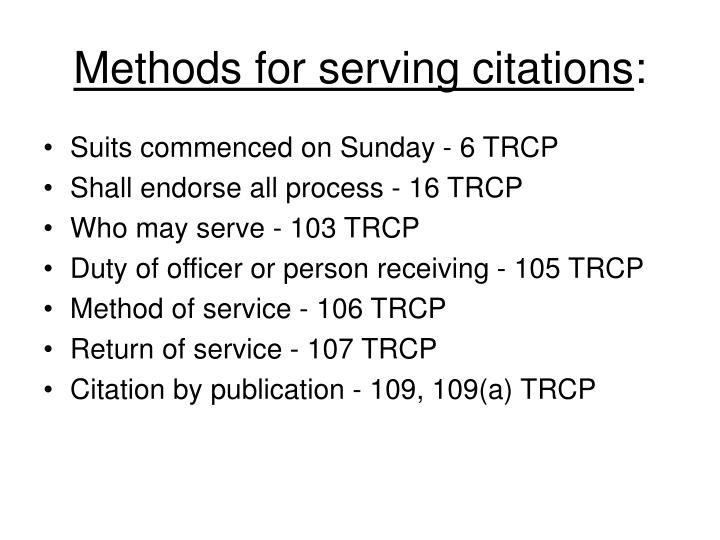 Methods for serving citations