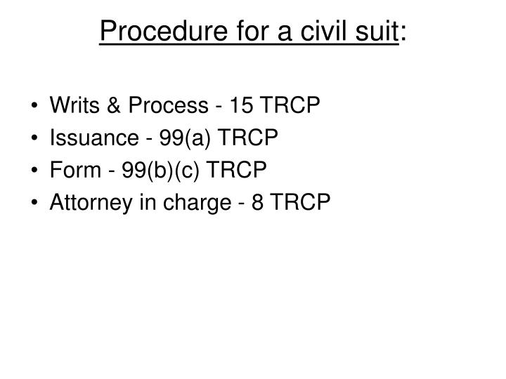 Procedure for a civil suit