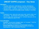 unicef eapro proposal key ideas