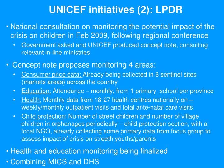 UNICEF initiatives (2): LPDR