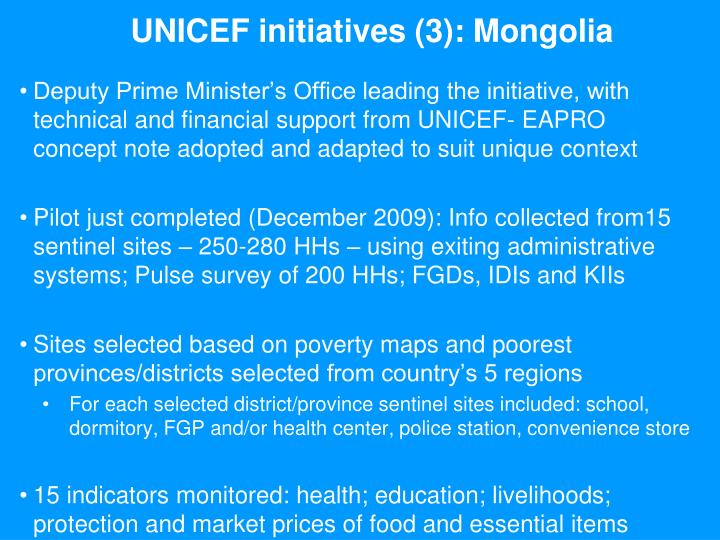 UNICEF initiatives (3): Mongolia