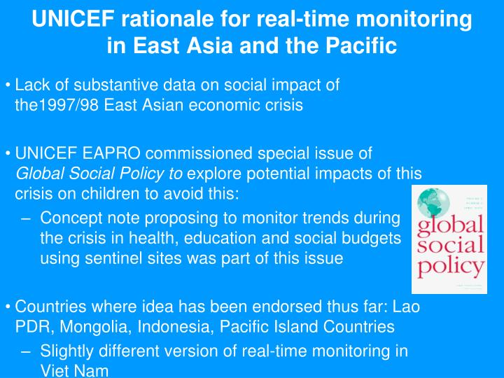 UNICEF rationale for real-time monitoring in East Asia and the Pacific